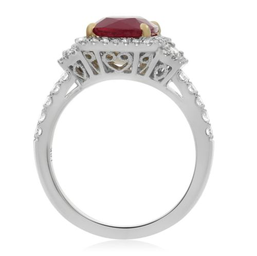 GIA CERTIFIED 3.18CT DIAMOND & AAA RUBY 18KT 2 TONE GOLD 3D HALO ENGAGEMENT RING