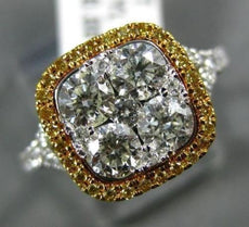 LARGE 1.52CT WHITE & FANCY YELLOW DIAMOND 14K 2 TONE GOLD SQUARE ENGAGEMENT RING