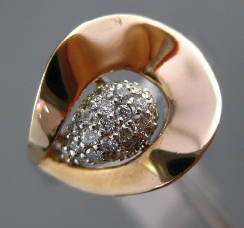 ESTATE .22CT ROUND DIAMOND 14K WHITE & ROSE GOLD 3D TULIP FLOWER FLORAL FUN RING