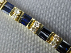 ESTATE 10.81CT DIAMOND & AAA SAPPHIRE 14K YELLOW GOLD 3D TWO ROW TENNIS BRACELET
