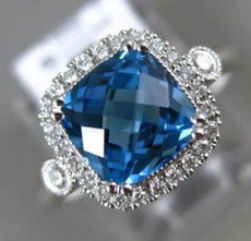 ESTATE 2.14CT DIAMOND & AAA BLUE TOPAZ 14K WHITE GOLD HALO FILIGREE PROMISE RING
