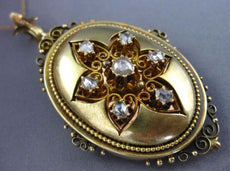 ANTIQUE LARGE 1.0CT ROSE CUT DIAMONDS 14KT YELLOW GOLD VICTORIAN PENDANT #26184
