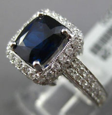 ESTATE WIDE 2.55CT DIAMOND & AAA SAPPHIRE 18KT WHITE GOLD SQUARE ENGAGEMENT RING