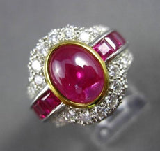 ANTIQUE LARGE 5.61CT DIAMOND & AAA CABOCHON RUBY PLATINUM 3D ENGAGEMENT RING