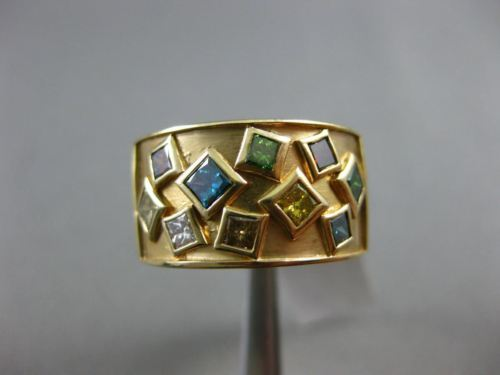 WIDE 1.50CT DIAMOND & MULTI COLOR GEM 14K YELLOW GOLD 3D ETOILE SQUARE RING 2276