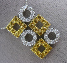 ESTATE 1.15CT DIAMOND & AAA CITRINE 14KT WHITE GOLD 3D SQUARE CIRCULAR NECKLACE