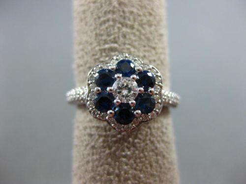 ESTATE WIDE 3.60CT DIAMOND & AAA ROUND SAPPHIRE 14KT WHITE GOLD 3D FLOWER RING