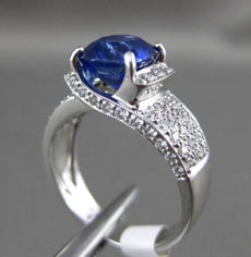 ESTATE WIDE 3.69CT DIAMOND & SAPPHIRE 18KT WHITE GOLD 3D LUCIDA ENGAGEMENT RING