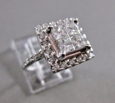 ESTATE 1.60CTW PRINCESS DIAMOND 14KT WHITE GOLD COCKTAIL ENGAGEMENT RING #19220