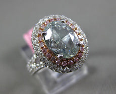 GIA LARGE 2.80CT MULTI COLOR DIAMOND 18K WHITE & ROSE GOLD HALO ENGAGEMENT RING