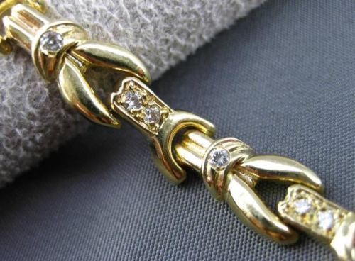 ANTIQUE .60CT DIAMOND 14KT YELLOW GOLD FLORAL FILIGREE LINK BRACELET 7mm #10184