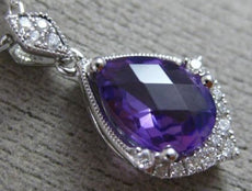1.01CT DIAMOND & AAA AMETHYST 14K WHITE GOLD TEAR DROP MILGRAIN FILIGREE PENDANT