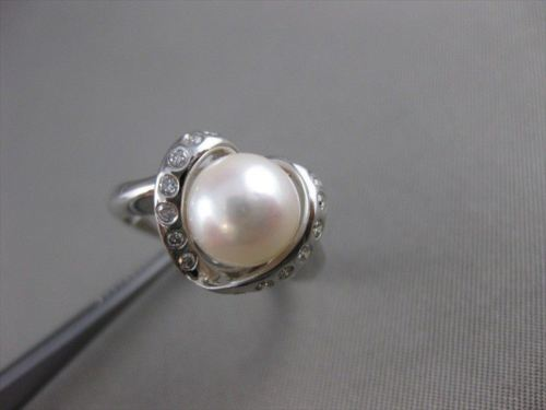 ESTATE DIAMOND 8.5MM SOUTH SEA PEARL 18K WHITE GOLD HEART COCKTAIL RING 12M 6545