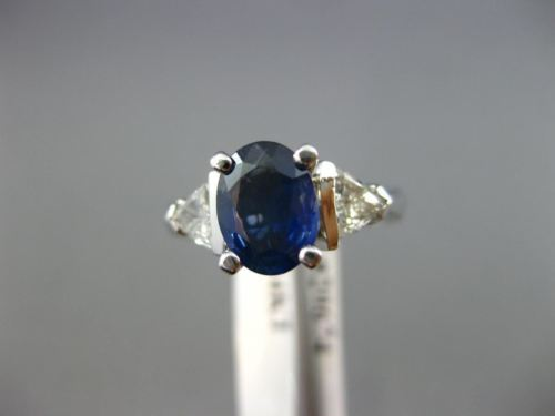 2.0CT TRILLION DIAMOND & AAA SAPPHIRE 14KT WHITE GOLD OVAL ENGAGEMENT RING 20674