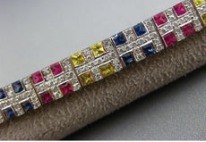 ESTATE WIDE 10.28CT DIAMOND & MULTI COLOR SAPPHIRE 14K WHITE GOLD LONG BRACELET
