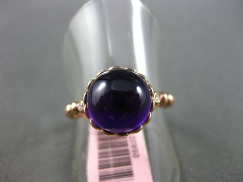 ANTIQUE 4.54CT DIAMOND & AAA AMETHYST 14KT ROSE GOLD 3D ROUND 3 STONE FUN RING