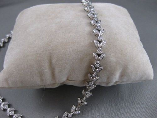 "ANTIQUE 2.50CTW DIAMOND 18KT WHITE GOLD FLORAL FILIGREE NECKLACE 17"" INCH #4166"