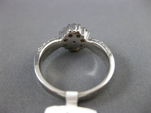 ANTIQUE WIDE .90CT DIAMOND 14KT WHITE GOLD ROUND CLUSTER ENGAGEMENT RING #17793