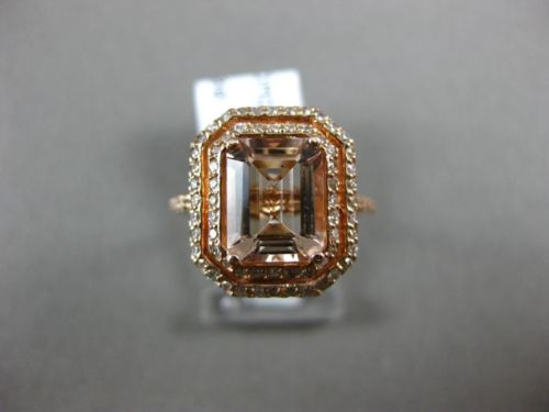LARGE 2.49CT DIAMOND & AAA MORGANITE 14KT ROSE GOLD OCTAGON HALO ENGAGEMENT RING