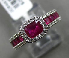 ESTATE 1.29CT ROUND DIAMOND & RUBY 14K WHITE GOLD HALO FRIENDSHIP PROMISE RING