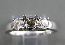 ESTATE .50CT DIAMOND 14KT WHITE GOLD 3 STONE SEMI MOUNT ENGAGEMENT RING #22405