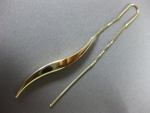 ESTATE LARGE 14KT YELLOW GOLD 3D ELONGATED CLASSIC WAVE FUN HANGING EARRINGS