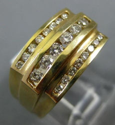 ESTATE WIDE .49CT DIAMOND 14K YELLOW GOLD 3D CLASSIC THREE ROW CHANNEL MENS RING