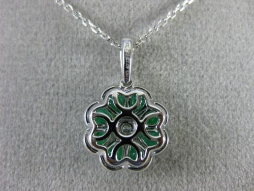 ESTATE 1.22CT DIAMOND & AAA EMERALD 18KT WHITE GOLD 3D FILIGREE FLOATING PENDANT