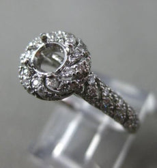 ESTATE WIDE .50CT DIAMOND 14KT WHITE GOLD HALO SWIRL SEMI MOUNT ENGAGEMENT RING