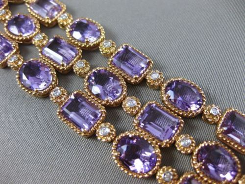 ESTATE WIDE 63.83CT DIAMOND & AAA AMETHYST 14KT ROSE GOLD THREE ROW FUN BRACELET