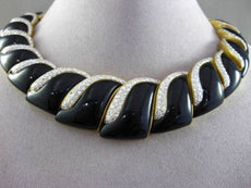 ESTATE WIDE 20CT DIAMOND & ONYX 18KT TWO TONE GOLD GRADUATING CHOKER NECKLACE