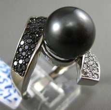 ESTATE LARGE .72CT WHITE & BLACK DIAMOND & AAA PEARL 14KT WHITE TENSION FUN RING