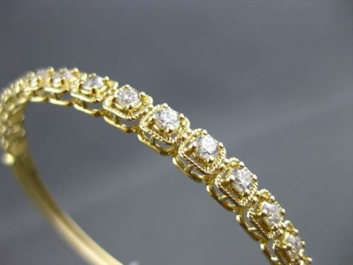 ANTIQUE 1.90CT DIAMOND 18KT YELLOW GOLD CLASSIC FILIGREE BANGLE BRACELET F/G VS