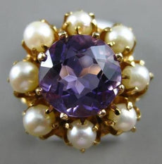 ANTIQUE LARGE 1.25CT AMETHYST PEARL & BLUE ENAMEL 14K YELLOW GOLD 3D FLOWER RING