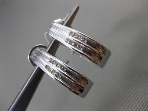 ESTATE WIDE .35CT DIAMOND 14KT WHITE GOLD PRINCESS CUT UMBRELLA CLIP ON EARRINGS