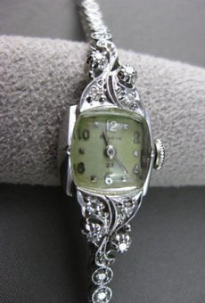 ANTIQUE 1.20CT OLD MINE DIAMOND 14KT WHITE GOLD BULOVA SQUARE FACE WATCH #2199