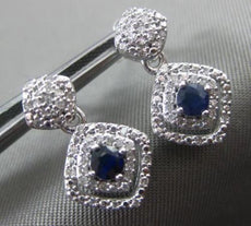 ESTATE .45CT DIAMOND & SAPPHIRE 14KT WHITE GOLD 3D DOUBLE HALO HANGING EARRINGS