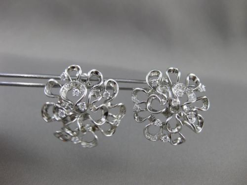 ANTIQUE LARGE 1.36CT DIAMOND 14KT WHITE GOLD 3D FLOWER EARRINGS STUNNING! #19466