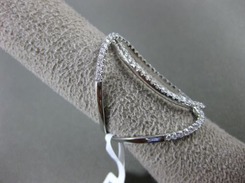 ESTATE MASSIVE .71CT DIAMOND 18KT WHITE GOLD 3D OVAL INFINITY HOOP LOVE FUN RING