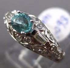 LARGE .71CT DIAMOND & PARAIBA TOURMALINE 18K WHITE GOLD FILIGREE ENGAGEMENT RING