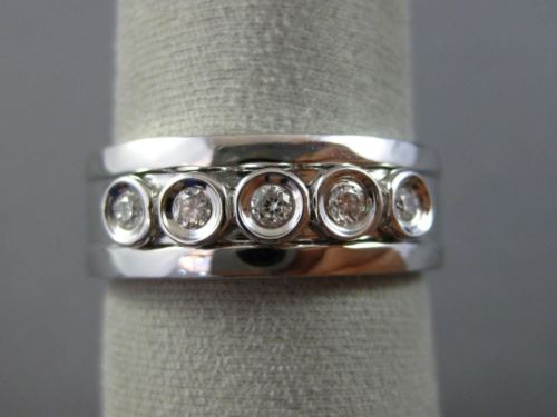 WIDE .23CT DIAMOND 14KT WHITE GOLD 3D ETOILE BEZEL MENS WEDDING ANNIVERSARY RING