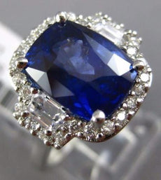 ESTATE LARGE 6.72CT DIAMOND & AAA SAPPHIRE PLATINUM CUSHION HALO ENGAGEMENT RING