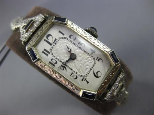 ANTIQUE 1.04CT OLD MINE DIAMOND & SAPPHIRE 14K WHITE GOLD FILIGREE OCTAGON WATCH