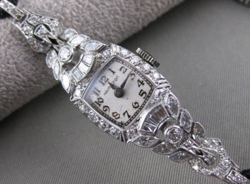 "ANTIQUE 1.70CT EURO MINE CUT DIAMOND PLATINUM ART DECO HAMILTON WATCH 8.5"" #2577"