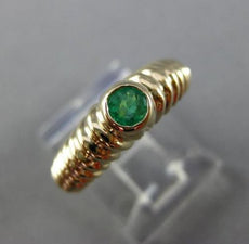 ESTATE .35CT AAA COLOMBIAN EMERALD 14KT YELLOW GOLD ETOILE ENGAGEMENT RING 25514
