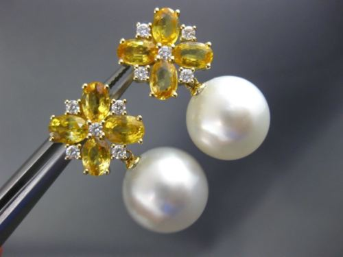 LARGE 5.36CT DIAMOND & SOUTH SEA PEARL YELLOW SAPPHIRE 18KT YELLOW GOLD EARRINGS