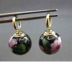 ANTIQUE 14K YELLOW GOLD FLORAL MULTI COLOR ENAMEL CHARM EARRINGS STUNNING #22288
