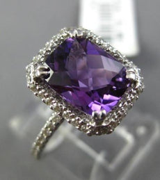 ESTATE 2.37CT DIAMOND & AAA CUSHION AMETHYST 14KT WHITE GOLD 3D ENGAGEMENT RING
