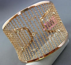 ESTATE WIDE .56CT DIAMOND 14KT ROSE GOLD 3D FLEXIBLE BY THE YARD BANGLE BRACELET