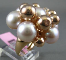 EXTRA LARGE .70CT DIAMOND & AAA PINK SOUTH SEA PEARL 14KT ROSE GOLD FLOWER RING